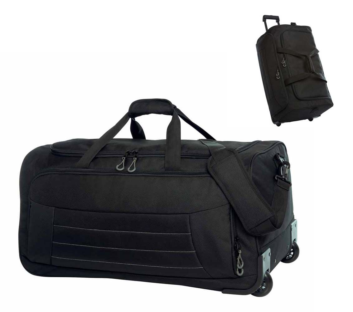 Duża torba podróżna na kółkach HALFAR® Impuls, kolor CZARNY